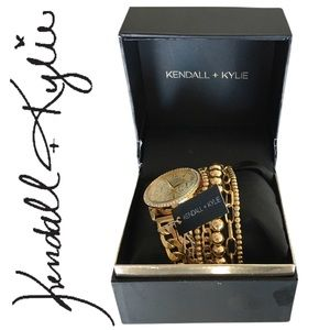 Kendall + Kylie Double Strap Gold Analog Watch Set